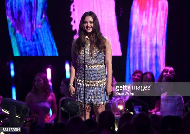 Katherine Langford speaks onstage during the Teen Choice Awards 2017 at Galen Center on August 13 2017 in Los Angeles California