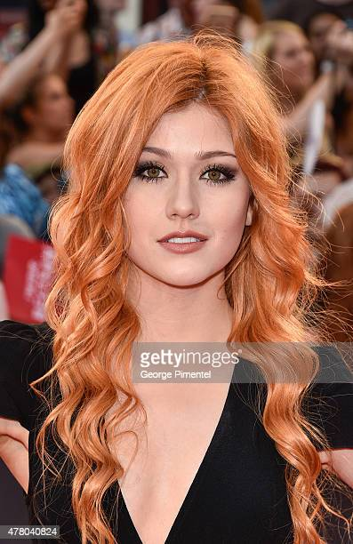Katherine McNamara arrives at the 2015 MuchMusic Video Awards at MuchMusic HQ on June 21 2015 in Toronto Canada