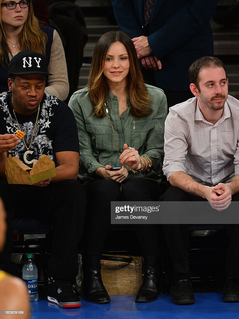 Katherine McPhee attends the Golden State Warriors vs New York Knicks game at Madison Square Garden on February 27, 2013 in New York City.