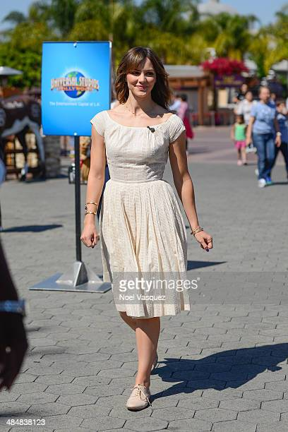 Katherine McPhee visits 'Extra' at Universal Studios Hollywood on April 14 2014 in Universal City California