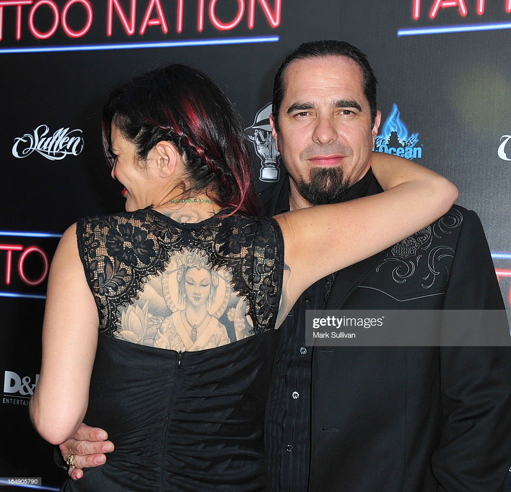Katherine Miller (L) and Corey Miller attend the premiere of 'Tattoo Nation' at ArcLight Cinemas on March 28, 2013 in Hollywood, California.