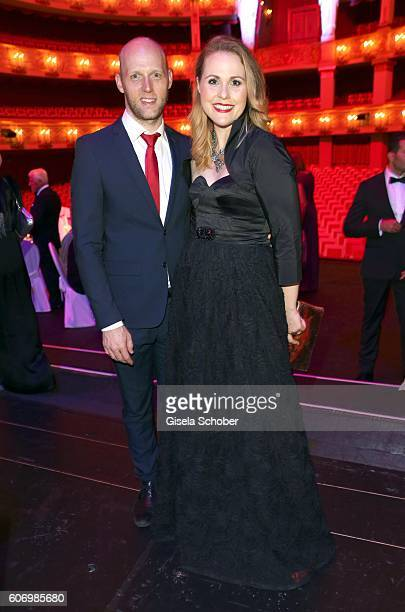 Katherine Olsen and her husband Zack Olsen sister of Judith Williams during the traditional Buehnendinner 2016 at Bayerische Staatsoper on September...