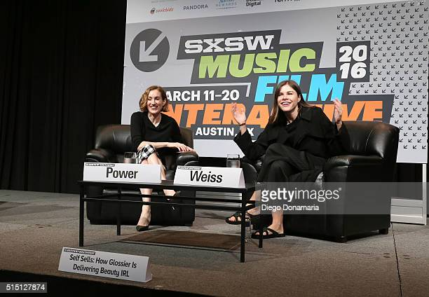 Katherine Power cofounder and CEO of Clique Media Group and Emily Weiss founder and CEO of Glossier speak onstage at 'Self Sells How Glossier is...