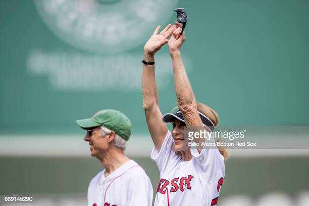 Katherine Switzer the first official woman Boston Marathon runner is introduced before throwing out a ceremonial first pitch before a game between...