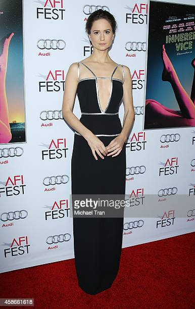 Katherine Waterston arrives at AFI FEST 2014 presented by Audi gala premiere of 'Inherent Vice' held at the Egyptian Theatre on November 8 2014 in...
