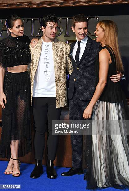 Katherine Waterston Ezra Miller Eddie Redmayne and Carmen Ejogo attend the European Premiere of 'Fantastic Beasts And Where To Find Them' at Odeon...