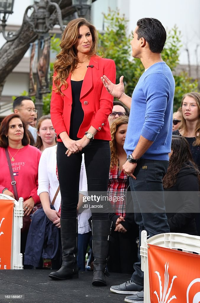 Katherine Webb and Mario Lopez are seen at The Grove on March 5, 2013 in Los Angeles, California.