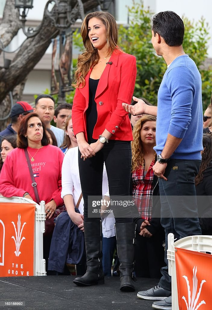 Katherine Webb and <a gi-track='captionPersonalityLinkClicked' href=/galleries/search?phrase=Mario+Lopez&family=editorial&specificpeople=235992 ng-click='$event.stopPropagation()'>Mario Lopez</a> are seen at The Grove on March 5, 2013 in Los Angeles, California.