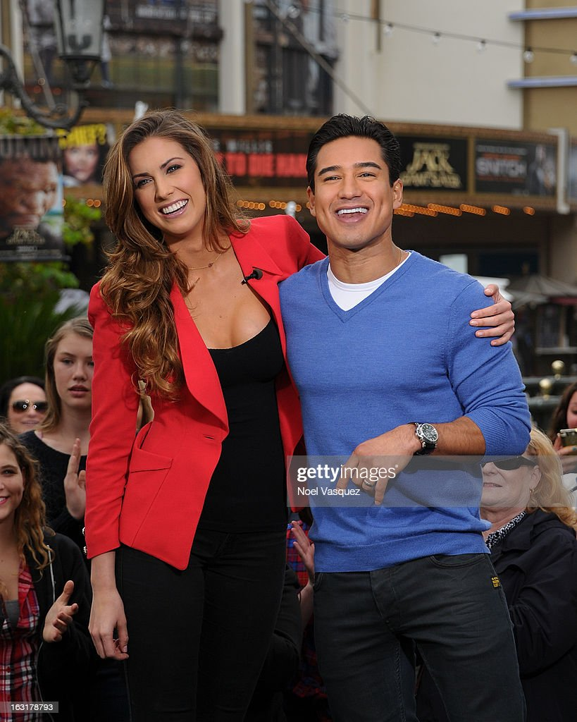 Katherine Webb (L) and Mario Lopez visit 'Extra' at The Grove on March 5, 2013 in Los Angeles, California.
