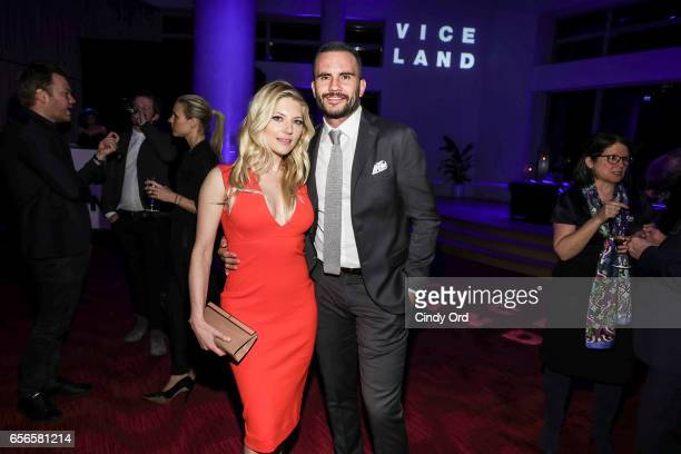 Katheryn Winnick and Juan Pablo Raba attend the 2017 AE Networks Upfront At Jazz At Lincoln Center's Frederick P Rose Hall on March 21 2017 in New...