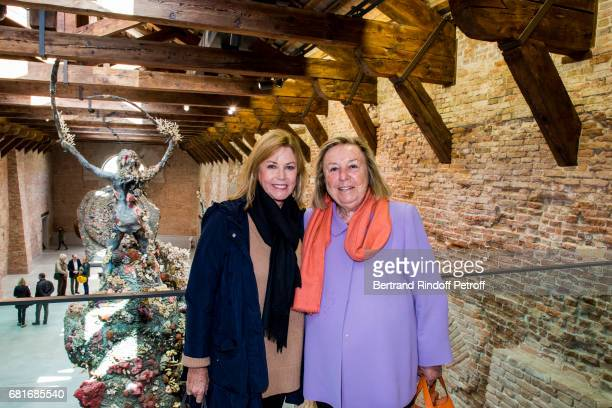 Kathi Koll and Madame Maryvonne Pinault attend Damien Hirst's exibition at Punta Della Dogana during the 57th Venice Biennale on May 10 2017 in...