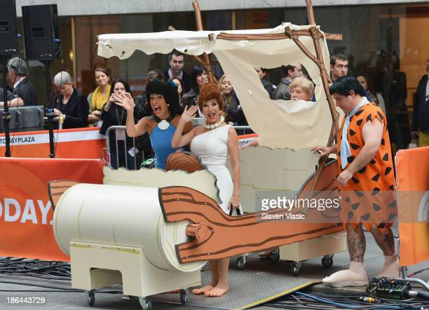 Kathie Lee Gifford and Hoda Kotb dressed as Flintstone characters Wilma Flintstone and Betty Rubble attend NBC's 'Today' Halloween 2013 in...