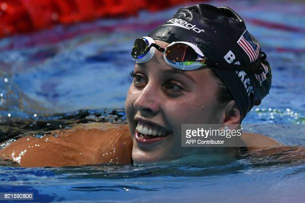 US Kathleen Baker reacts after competing in the women's 100m backstroke semifinal during the swimming competition at the 2017 FINA World...