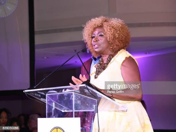 Kathleen Bertrand speak onstage at 2017 BronzeLens Women SuperStars Luncheon at Westin Peachtree Plaza on August 25 2017 in Atlanta Georgia