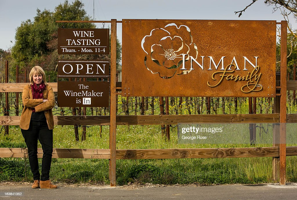 Kathleen Inman, winemaker and owner of Inman Family Wines, poses outside her Piner Road winery on March 15, 2013, near Santa Rosa, California. Sonoma County, along with Napa Valley, has grown to become one of California's most prestigious wine grape growing regions and known for its cool climate pinot noir and chardonnay.