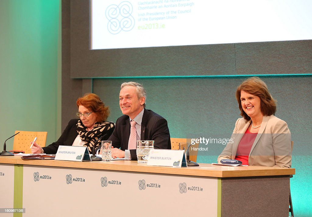 Kathleen Lynch T.D, Irish Minister for Disability, Equality and Mental Health, Richard Bruton T.D, Irish Minister for Jobs, Enterprise and Innovation and Joan Burton T.D, Irish Minister for Social Protection speak to the press at the second plenary session of the Informal Meeting of Ministers for Employment and Social Affairs (EPSCO) on February 8, 2013 in Dublin Castle, Dublin, Ireland.