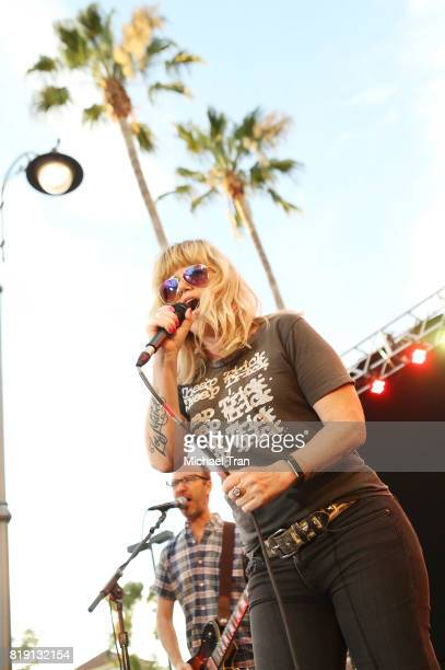 Kathleen Marie Hanley aka Kay Hanley and Michael Eisenstein of Letters to Cleo perform onstage during the Citi presents The Grove Summer Concert...