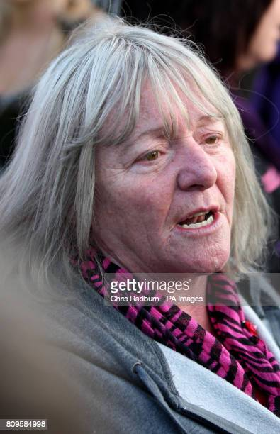 Kathleen McCarthy speaks to the media before leaving Dale Farm illegal travellers site near Basildon Essex the UK's largest illegal site in a van...