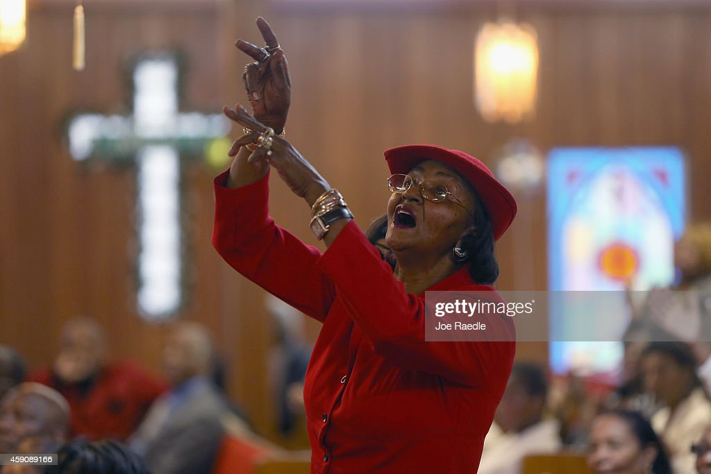 Kathleen McGee and other parishioners attend a service at the St John Missionary Baptist Church which was celebrating its 48th anniversary as they...
