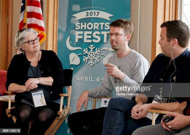 Kathleen McInnis Florian Weghorn and Luke Rivett attend the 2017 Aspen Shortsfest filmmakers master class on April 7 2017 at Mountain Chalet in Aspen...