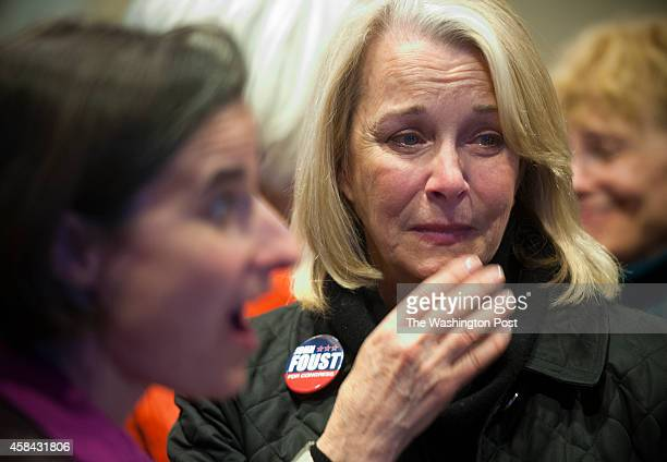 Kathleen Murphy cries as she learns that John Foust lost the race to Barbara Comstock for Virginia's 10th Congressional seat vacated by incumbent...