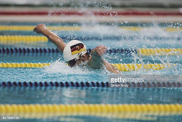 Kathleen Nord of East Germany during the Women's 200 metres Butterfly on 25 September 1988 during the XXIV Olympic Games at the Jamsil Indoor...