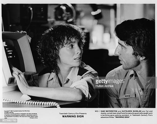 Kathleen Quinlan Sam Waterston look terrified in a scene for the 20th Century Fox movie 'Warning Sign' circa 1985