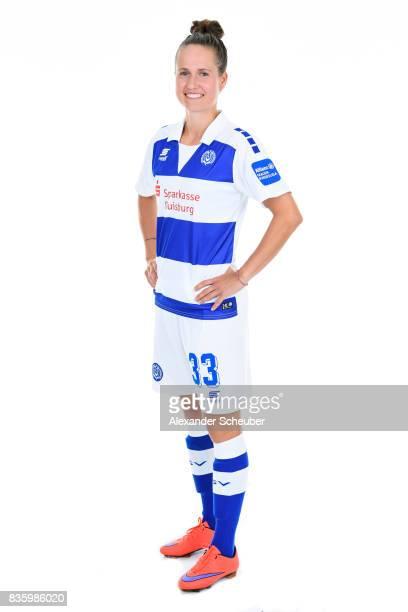 Kathleen Radtke of MSV Duisburg poses during the Allianz Frauen Bundesliga Club Tour at MSV Duisburg on August 17 2017 in Duisburg Germany