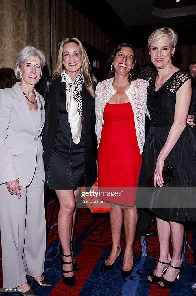 Kathleen Sebelius, Sharon Stone and Cecile Richards pose for a photo during the attends Planned Parenthood Federation of America's VIP Reception at the Marriott Wardman Park Hotel on April 25, 2013 in Washington, DC.