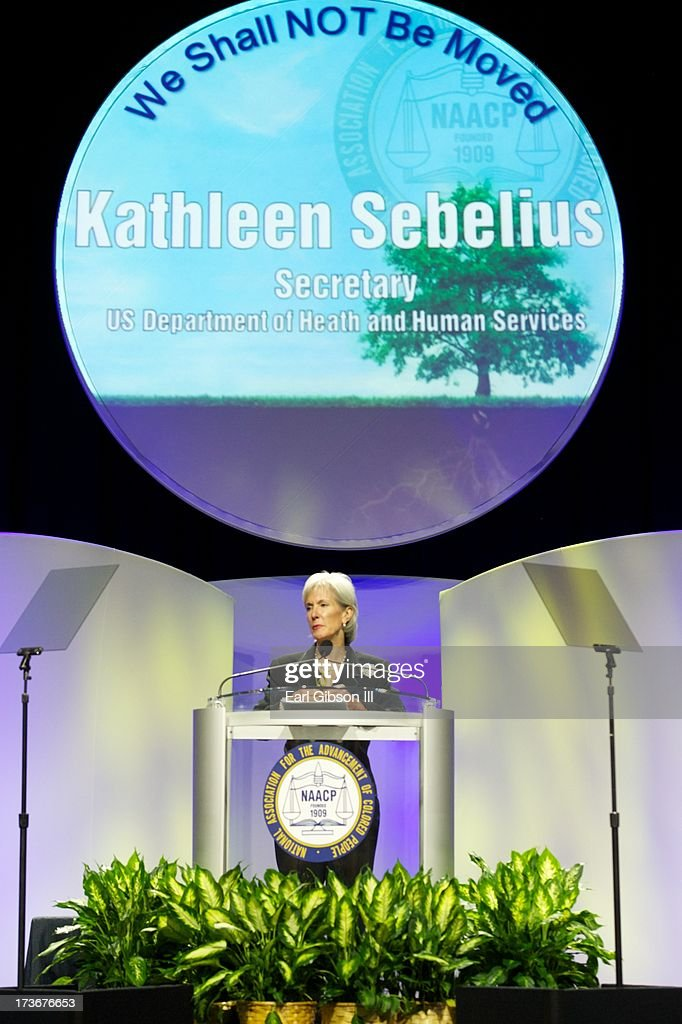 <a gi-track='captionPersonalityLinkClicked' href=/galleries/search?phrase=Kathleen+Sebelius&family=editorial&specificpeople=700528 ng-click='$event.stopPropagation()'>Kathleen Sebelius</a> (Secretary, U.S. Department of Health and Human Services) speaks at the Plenary Sessions at the 'We Shall Not Be Moved' Symposium during the 104th NAACP Convention at Orange County Convention Center on July 16, 2013 in Orlando, Florida.