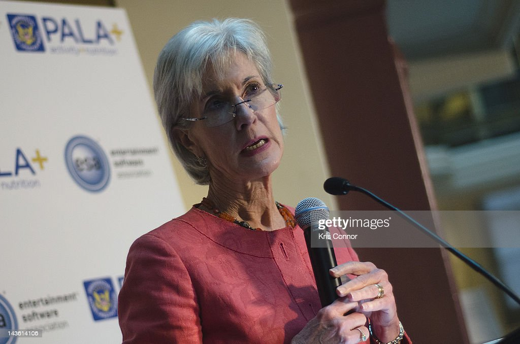 <a gi-track='captionPersonalityLinkClicked' href=/galleries/search?phrase=Kathleen+Sebelius&family=editorial&specificpeople=700528 ng-click='$event.stopPropagation()'>Kathleen Sebelius</a> speaks during the Active Play Video Game Demonstration at Smithsonian American Art Museum & National Portrait Gallery on April 30, 2012 in Washington, DC.