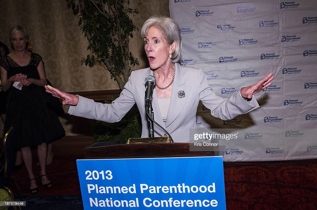 Kathleen Sebelius speaks during the Planned Parenthood Federation of America's VIP Reception at the Marriott Wardman Park Hotel on April 25, 2013 in Washington, DC.