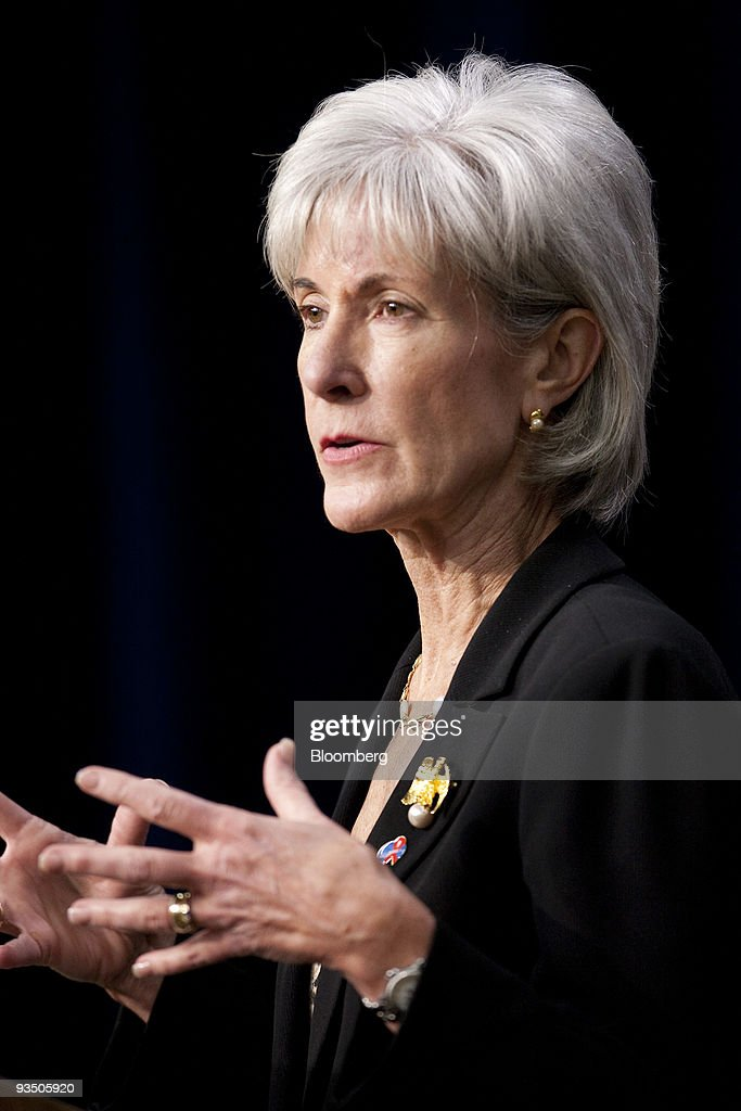 <a gi-track='captionPersonalityLinkClicked' href=/galleries/search?phrase=Kathleen+Sebelius&family=editorial&specificpeople=700528 ng-click='$event.stopPropagation()'>Kathleen Sebelius</a>, U.S. health and human services secretary, speaks during a news conference highlighting the efforts of the Obama Administration on HIV/AIDS issues in Washington, D.C., U.S., on Monday, Nov. 30, 2009. The International AIDS Society, IAS, announced that the XIX International AIDS Conference will be held in Washington in July 2012. Photographer: Andrew Harrer/Bloomberg via Getty Images