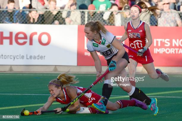 Kathleen Sharkey of United States of America and Nike Lorenz of Germany during day 9 of the FIH Hockey World League Women's Semi Finals final match...