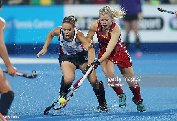 Kathleen Sharkey of USA and Sophie Bray of Great Britain during the FIH Women's Hockey Champions Trophy match between Great Britain and USA at Queen...