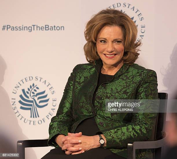 Kathleen Troia 'KT' McFarland Deputy National Security Advisor Designate looks on during a conference on the transition of the US Presidency from...
