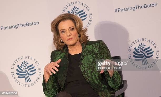 Kathleen Troia 'KT' McFarland Deputy National Security Advisor Designate speaks during a conference on the transition of the US Presidency from Obama...