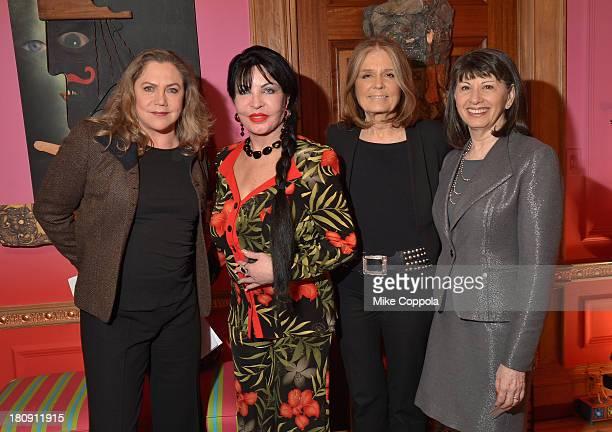 Kathleen Turner Loreen Arbus Gloria Steinem and Gloria Feldt attend the 2013 Women's Media Awards Kick Off Party on September 17 2013 in New York City