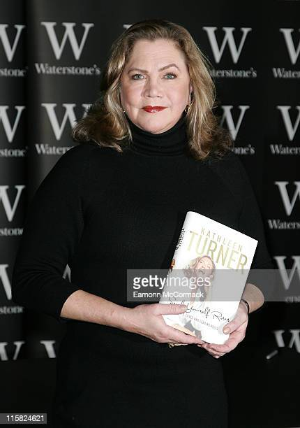 Kathleen Turner signs her new autobiography 'Send Yourself Roses My Life Love and Leading Roles' at Waterstone's Piccadilly on March 7 2008 in London...