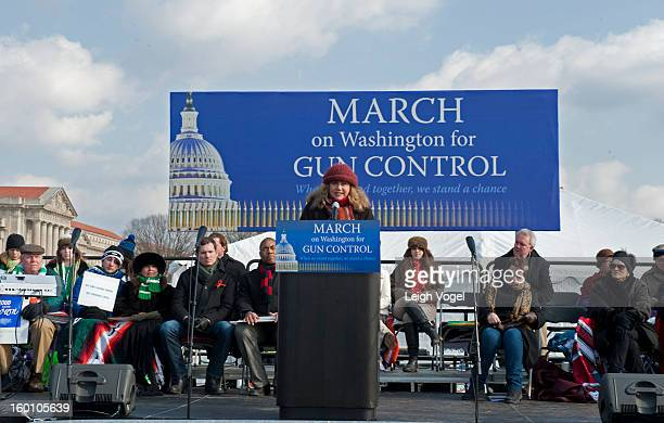 Kathleen Turner speaks during the Million Mom March for Gun Control on January 26 2013 in Washington DC