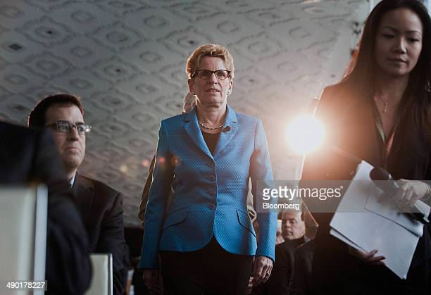 Kathleen Wynne premier of Ontario center arrives to speak at the Bloomberg Economic Summit in Toronto Ontario Canada on Tuesday May 13 2014 Wynne...