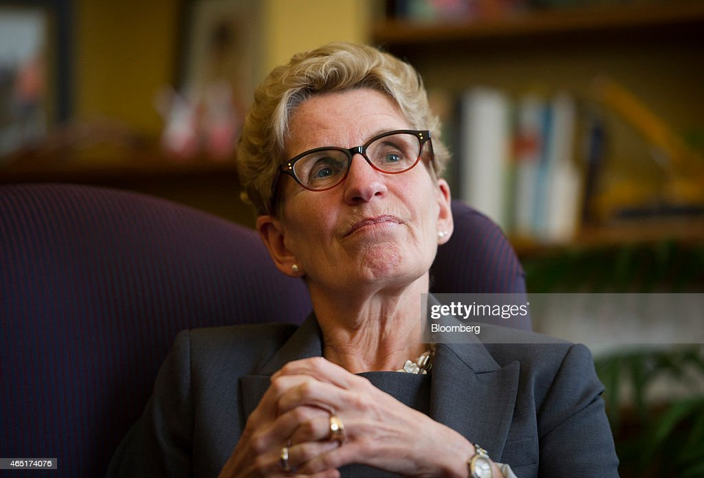 <a gi-track='captionPersonalityLinkClicked' href=/galleries/search?phrase=Kathleen+Wynne&family=editorial&specificpeople=10626599 ng-click='$event.stopPropagation()'>Kathleen Wynne</a>, premier of Ontario, pauses while speaking during an interview at her Queen's Park office in Toronto, Ontario, Canada, on Monday, March 3, 2015. In January Wynne proposed the Canadian Infrastructure Partnership, a collaboration aimed at investing five percent of GDP in infrastructure renewal. Photographer: Kevin Van Paassen/Bloomberg via Getty Images