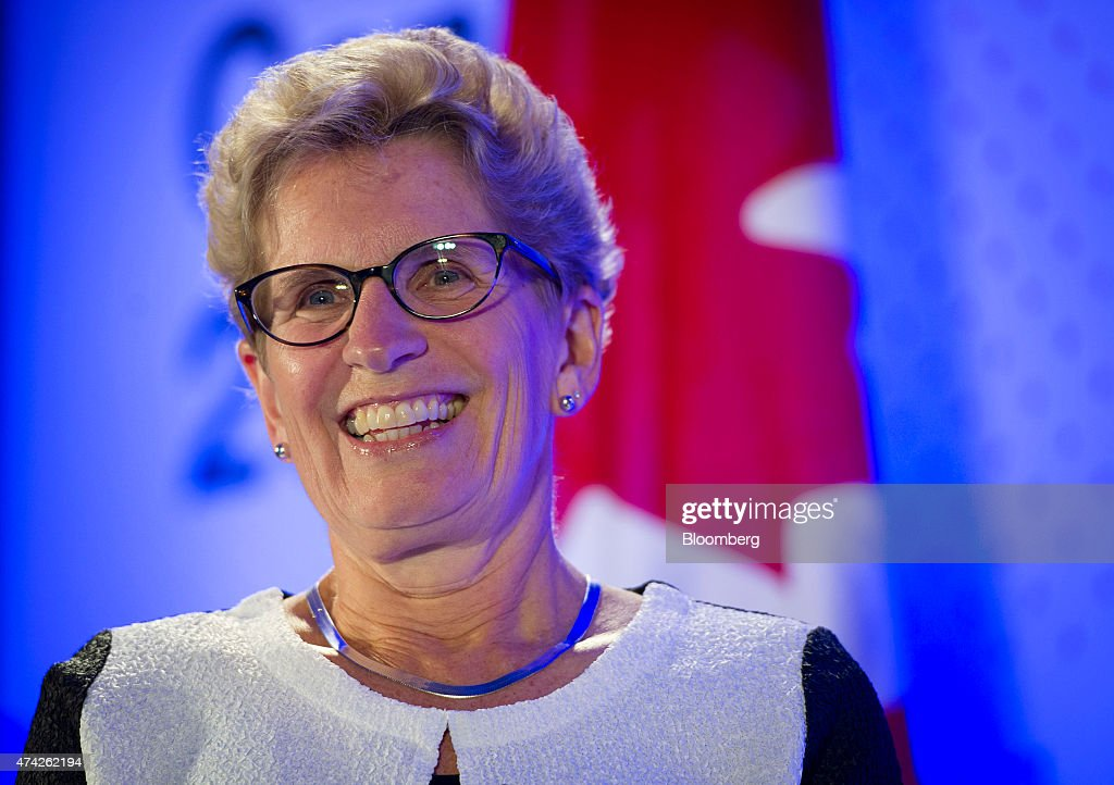 <a gi-track='captionPersonalityLinkClicked' href=/galleries/search?phrase=Kathleen+Wynne&family=editorial&specificpeople=10626599 ng-click='$event.stopPropagation()'>Kathleen Wynne</a>, premier of Ontario, smiles during an interview at the Bloomberg Canada Economic Summit in Toronto, Ontario, Canada, on Thursday, May 21, 2015. The investment banking fee structure for the initial public offering of Hydro One Inc. hasn't been finalized, despite 'speculation' about the process, Wynne said today. Photographer: Kevin Van Paassen/Bloomberg via Getty Images