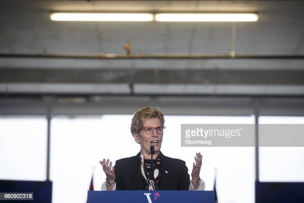 Kathleen Wynne premier of Ontario speaks during an event at the Vector Institute inside the MaRS Discovery District in Toronto Ontario Canada on...