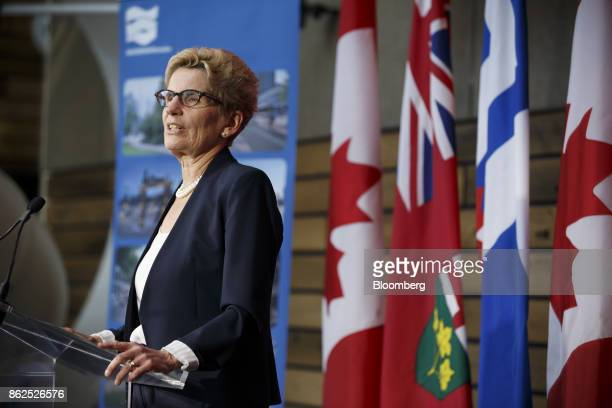 Kathleen Wynne premier of Ontario speaks during an event in Toronto Ontario Canada on Tuesday Oct 17 2017 Sidewalk Labs LLC the urban innovation unit...