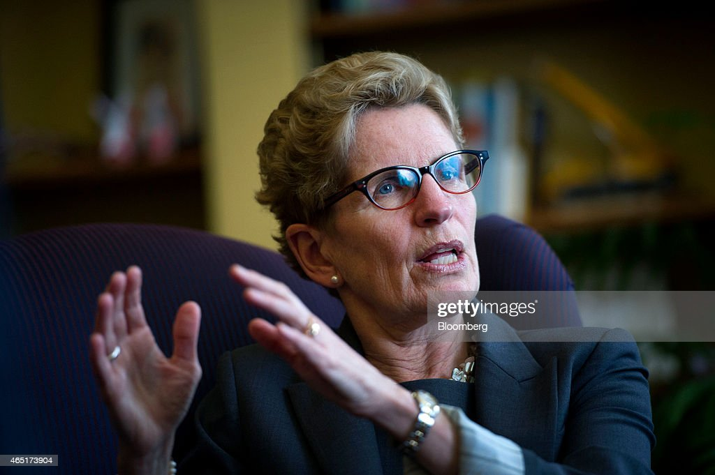<a gi-track='captionPersonalityLinkClicked' href=/galleries/search?phrase=Kathleen+Wynne&family=editorial&specificpeople=10626599 ng-click='$event.stopPropagation()'>Kathleen Wynne</a>, premier of Ontario, speaks during an interview at her Queen's Park office in Toronto, Ontario, Canada, on Monday, March 3, 2015. In January Wynne proposed the Canadian Infrastructure Partnership, a collaboration aimed at investing five percent of GDP in infrastructure renewal. Photographer: Kevin Van Paassen/Bloomberg via Getty Images