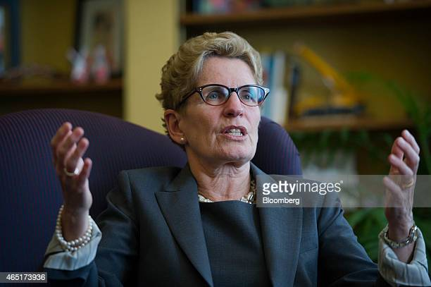Kathleen Wynne premier of Ontario speaks during an interview at her Queen's Park office in Toronto Ontario Canada on Monday March 3 2015 In January...