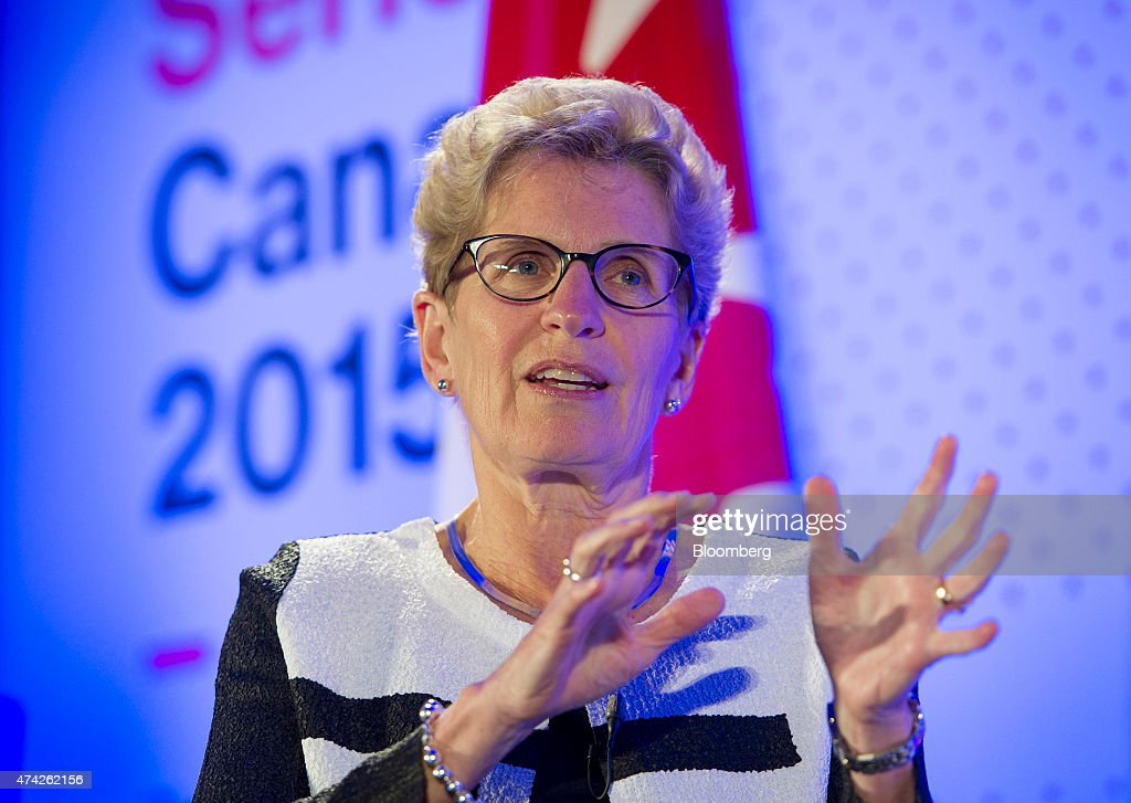 <a gi-track='captionPersonalityLinkClicked' href=/galleries/search?phrase=Kathleen+Wynne&family=editorial&specificpeople=10626599 ng-click='$event.stopPropagation()'>Kathleen Wynne</a>, premier of Ontario, speaks during an interview at the Bloomberg Canada Economic Summit in Toronto, Ontario, Canada, on Thursday, May 21, 2015. The investment banking fee structure for the initial public offering of Hydro One Inc. hasn't been finalized, despite 'speculation' about the process, Wynne said today. Photographer: Kevin Van Paassen/Bloomberg via Getty Images