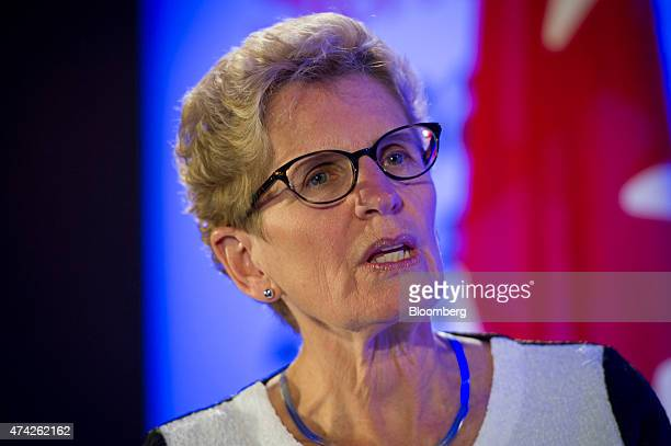 Kathleen Wynne premier of Ontario speaks during an interview at the Bloomberg Canada Economic Summit in Toronto Ontario Canada on Thursday May 21...