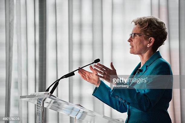 Kathleen Wynne premier of Ontario speaks during the Bloomberg Economic Summit in Toronto Ontario Canada on Tuesday May 13 2014 Wynne said next...